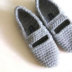 Crochet Mary Jane Slippers for Women in Grey