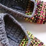 Crochet Slippers for Women, House Shoes in Grey, Neon Yellow, Pink & Black, Ballet Shoes, Flats, Slipper Socks