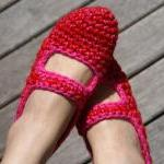 Crochet Mary Jane House Slippers, W..