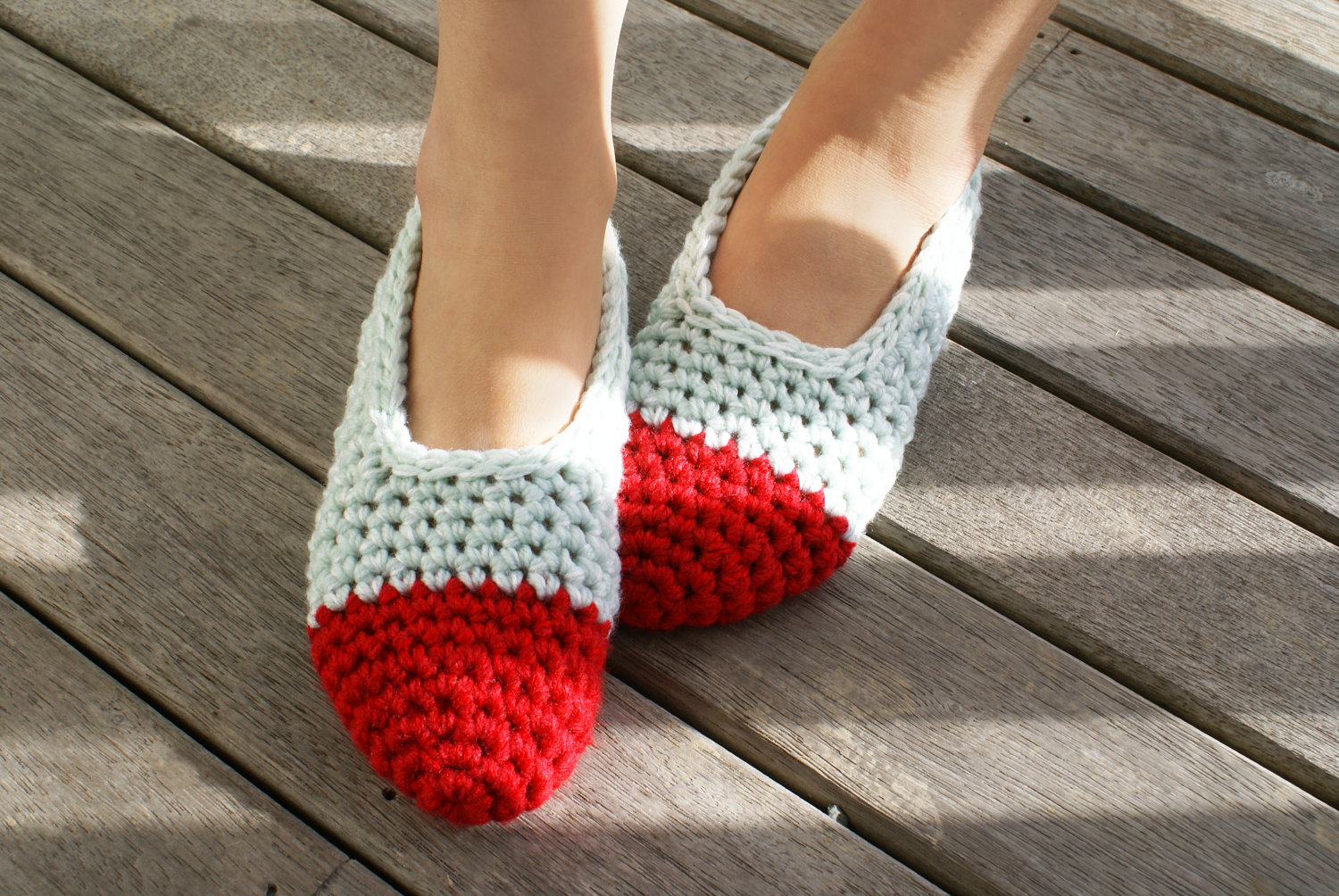 a1ed44c9d0e20 Women's Crochet Slippers, House Shoes In Red & Baby Blue, Slippers Socks,  Ballet Shoes, Flats